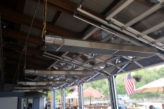 Heaters and Glass Doors for Deck Dining during bad weather.