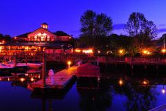 Enjoying the Tiki Bar at night at  Madigan's Waterfront