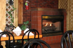Seating by fireplace